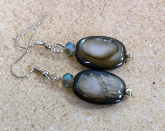 Blue & Silver Shell Earrings, MOP Dangle Earrings, Gifts for Her, Nickle-Free Silver Plated Earwires, Handmade in the USA