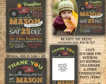Pumpkin birthday invitation - Fall invitation - tractor party invitation fall pumpkin invitation with tractor - birthday party invitation