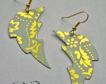 Thunderstruck lightning bolt earrings. Reclaimed recycled tin art