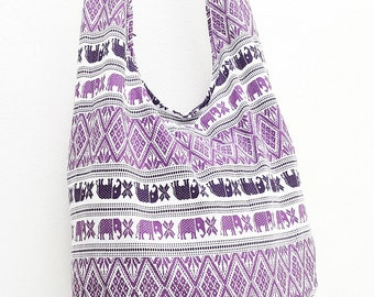 Women bag Handbags Cotton bag Elephant bag Hippie Hobo Boho bag Shoulder bag Sling bag Messenger bag Tote Crossbody bag Purse White Purple