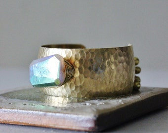Moonstone cuff bracelet, natural titanium moonstone chunk, bells, adjustable hammered brass cuff