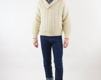 Soft Wool White Cream Hemingway Pullover Vintage Sweater Size Small / Medium
