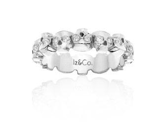 White Gold Diamond Skull Eternity Ring