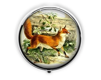 Fox pill case vintage red fox pill box travel medicine storage mint case.