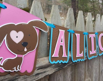 Puppy Girl Birthday Banner,  Dog Party,  Girl Puppy Party