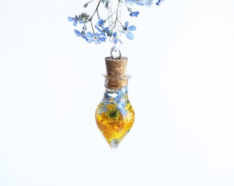 Blue yellow necklace Terrarium necklace Ranunculus Sterling silver necklace Forget me not necklace Yellow flower pendant Bottle Wife gift