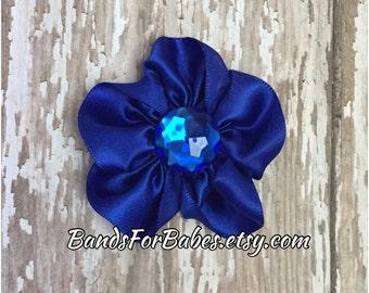 CLEARANCE Royal Blue Satin Flower Hair Clip, Alligator Clip, Blue Flower Barrette, Girls Blue Hair Bow, Headband Clip, Flower Girl Accessory