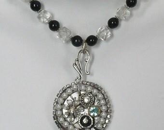Silvertone Jeweled Watchface Necklace
