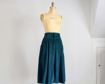 80s teal corduroy pocket skirt