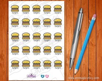 Burgers Meal Planning Stickers. Hamburger Buns, Fast Food, McDonald's, Hungry Jacks.  25 stickers. Filofax, ECLP, Kikki K, Happy Planner