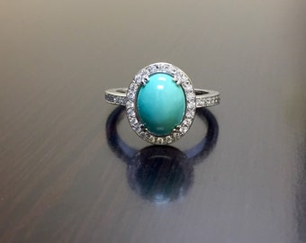 18k white gold diamond turquoise engagement ring 18k gold turquoise diamond wedding ring halo - Turquoise Wedding Ring
