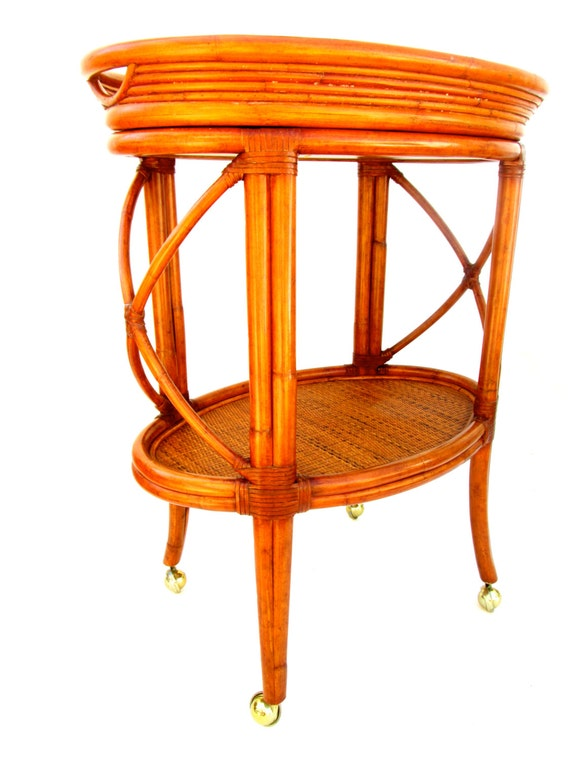 Bamboo furniture etsy - Vintage Ethan Allen Bamboo Rattan Bar Cart By Electricmarigold