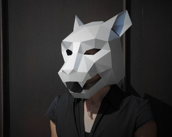 Jaguar Mask - build your own from card using our polygon mask template