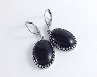 Black Onyx Earrings, Black and Silver Earrings, Oval Black Onyx Jewelry, Silver Leverback Earrings