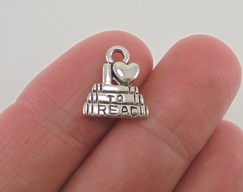 8 I Love to Read book charms, 14x12mm, antique silver finish