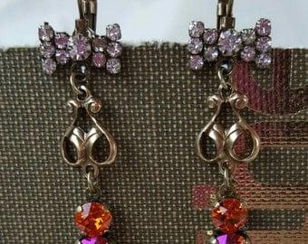 SPRING BOWS - Swarovski Tangerine & Tangerine Purple Haze earrings