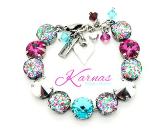 I LOVE CONFETTI 12mm Crystal Rivoli & Cabochon Bracelet Made With Swarovski Elements *Pick Your Finish *Karnas Design Studio *Free Shipping