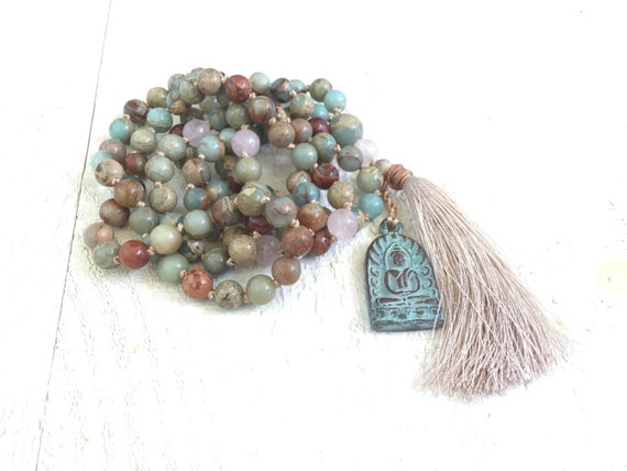 African Opal Knotted Mala Beads, Tassel Mala Necklace, Buddha Pendant Mala Necklace, Long Tassel Necklace, Yoga Meditation Beads