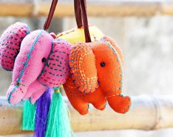 ELEPHANT / Set 3 Elephant keychains 3 colors, Hand stitched elephant keychain, Holiday gift