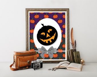 Hallowen Printable, Halloween Decor, Halloween Art, Pumpkin Print, Halloween Decorations, Halloween Digital Download, Halloween 0017