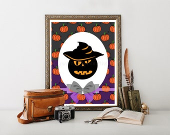 Halloween Pumpkin, Hallowen Printable, Halloween Decor, Halloween Art, Pumpkin Print, Halloween Decorations, Halloween Digital Download 0045