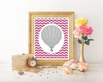 """Hot Air Balloon Digital Download 8""""x10"""", Hot Air Balloon Download, Hot Air Balloon Printable, Hot Air Balloon, Nursery Digital Download 0007"""