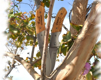 SET OF 8 Engraved Pocket Knife , Monogram Engraving ,Groomsman Gift ,Camping Knife - Hunting Knife