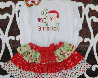 Baby Girl Christmas Birthday Outfit! My 1st Birthday outfit for baby girls/ Baby Girl First Christmas Outfit/Santa Christmas Outfit
