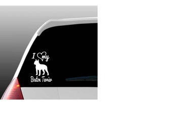 I Love My Boston Terrier Car Window Decal