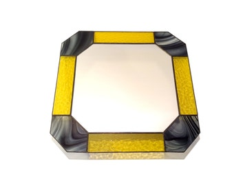 Stained Glass Mirror - Yellow with Black Swirls - 40cm x 40cm