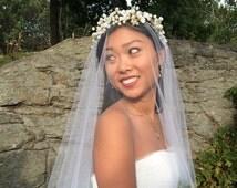Hair Vine, Beaded Crown, Pearl Bridal Wreath, Wedding Accessories, Beaded Pearl Floral Wreath, Style No. 4103