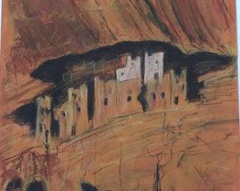 Beautiful Impressionism Soft Pastel Drawing Southwest Art Signed W. Wozancki