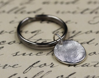 Fingerprint Keychain Key Ring Key Chain Fob custom made of .999 Fine Silver using Mold or Ink Print Gift for Him Dad Her Mom Personalized