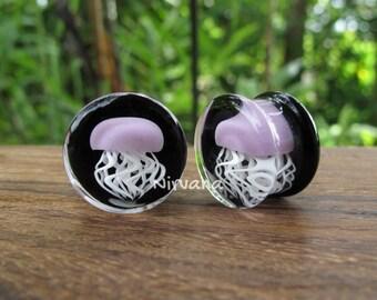 "Pyrex Glass Mauve Purple Jellyfish Plugs Black Background 0g 00g 7/16"" 1/2"" 9/16"" 5/8"" 3/4"" 1""  8 mm 10 mm 12 mm 14 mm 16 mm 18 mm"