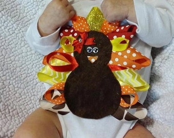 Thanksgiving ribbon onesie and shirts!! - boy turkeys available also!