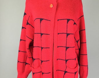 Sale! Vintage 60s, Red and Black, Cardigan Sweater // 1960s, Outerwear, Women Size Large