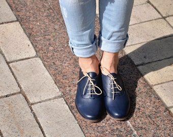 Dorsey - Womens Leather Oxfords, Classic Handmade Shoes, Vintage Shoes, Womens Navy Oxfords, Custom Shoes, FREE customization!!!