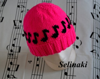 Knit Music Notes Hot Pink Hat Beanie