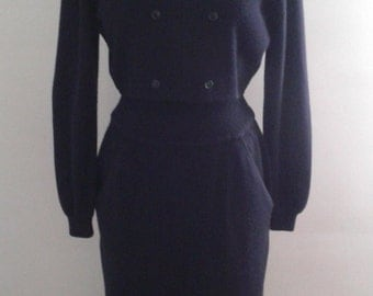 Vintage 1990's Argenti Navy Blue Cropped Sweater and High Waisted Skirt Set Sz 8 Minimalist