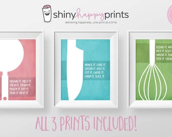 SET OF 3 Kitchen Wall Art Digital Print, Instant Download 8x10 Kitchen Decor, Gift for Cook Chef, Teal Pink Green Art, Shiny Happy Prints