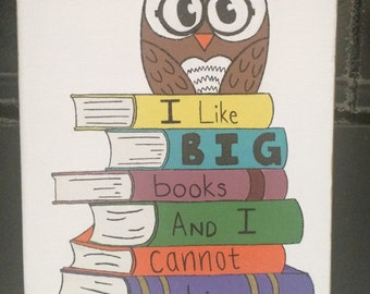 8x10 I Like Big Books Canvas, Wall Art