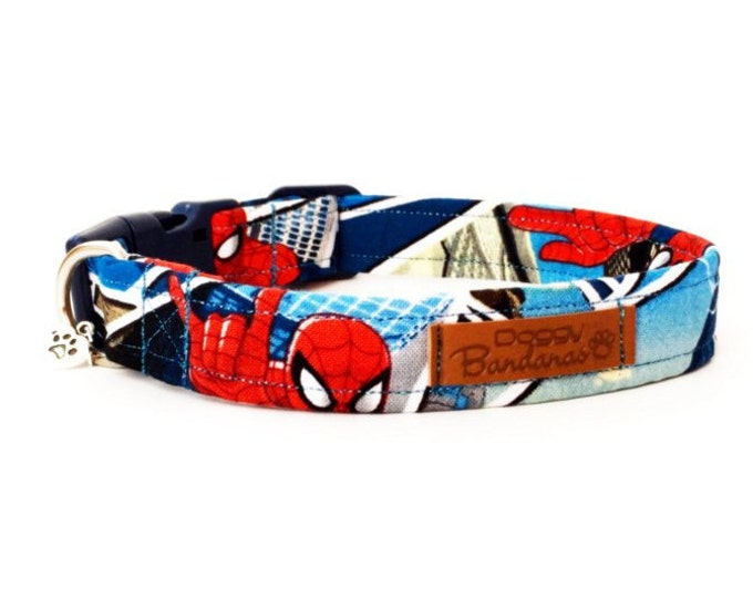 Spiderman Dog Collar Cartoon Marvel Dog Collar Bright Designer Dog Collar Comic Superhero Dog Collar Blue and Red Dog Collar Boy Dog Collar