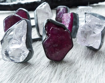 SALE Raw ruby ring | Kunzite ring | Multistone ring | Rough ruby ring | Birthstone ring | Adjustable ring | Ruby in silver ring | Raw stone