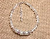 Pearl, Crystal, and Rhinestone Bracelet, Wedding Bracelet, Bridal Bracelet