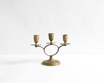Vintage Indian Floral Etched Brass Candlestick Holder