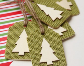 Christmas Gift Tags, Christmas Tree, Set of Six, Shabby Chic Christmas Wrapping, Avocodo Green and Natural Wood,  Burlap and Wood, Hang Tag.