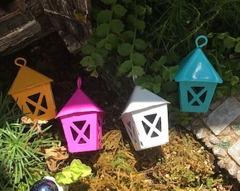 Miniature Blue Metal Lantern, Fairy Garden Accessory, Miniature Gardening, Home and Garden Decor, Topper, Crafting