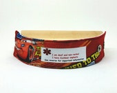 Kids Medical Alert Bracelet Safety ID Fabric Wristband - Lightning McQueen