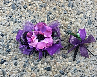 Purple and Black Artificial Anemone and Rose Wrist Corsage and Boutonniere Set