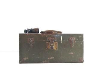 Vintage Metal Toolbox / Tackle Box / Industrial Storage